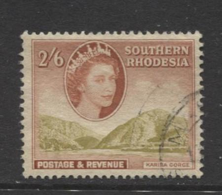 Southern Rhodesia- Scott 91 - QEII Definitives -1953 - Used- Single 2/6d Stamp