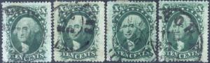 35, FOUR STAMPS WITH FANCY CANCELS Cat $260.00+