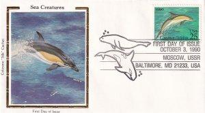 1990, Sea Creatures-Dolphin, Colorano Silk, FDC (E12209)