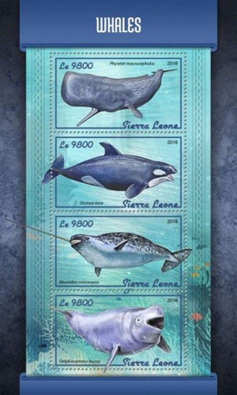 Sierra Leone - 2018 Whales on Stamps - 4 Stamp Sheet - SRL18101a