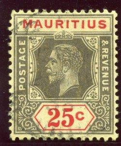 Mauritius 1932 KGV 25c black & red/pale yellow (Die I) VFU. SG 236a. Sc 194a.