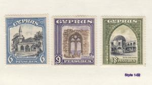 CYPRUS # 132-134 VF-MH/MLH KGV ISSUES CAT VALUE $82.50