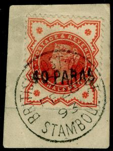 BRITISH LEVANT SG7, 40pa on ½d vermilion, FINE USED, CDS. Cat £100.