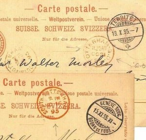 Switzerland Stationery Cards{2}GB *SOUTH TOTTENHAM & SO* Arrivals 1895 BD170