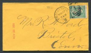 1888 Brooklyn, New York to Bristol, Connecticut  - FREE U.S. Shipping!