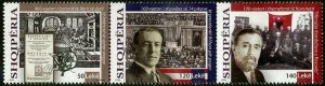 HERRICKSTAMP NEW ISSUES ALBANIA Historic Events Strip of 3 Diff.