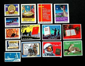 US Religious Cinderella Christmas Stamps Read Bible Excellent MNH Lot of 14