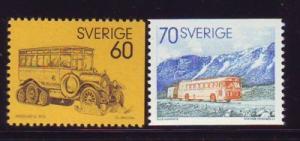 Sweden Sc 990-91 1973 Postal Buses stamp set mint NH