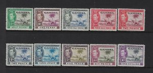 GAMBIA SCOTT #132-38 1938-46 GEORGE VI SHORT SET-  MINT  HINGED
