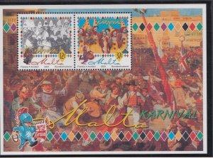 Malta # 1041, Carnival , Souvenir Sheet, Mint NH, 1/2 Cat..