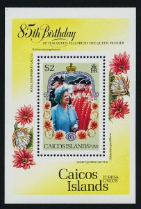 Caicos Islands 77 MNH Queen Mother 85th Birthday, Flowers