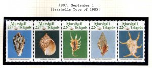 Marshall Islands Scott 65-69a MNH** Shell strip