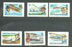 Turk & Caicos Airplanes and Pilots 6v Scott 347-52 MNH