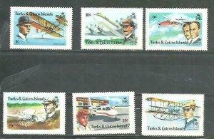 Turk & Caicos Airplanes and Pilots 6v Scott 347-52 MNH
