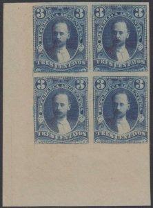 ARGENTINA 1888-89 Sc 70 CORNER MARGINAL IMPERF PROOF UNISSUED STEEL BLUE COLOR
