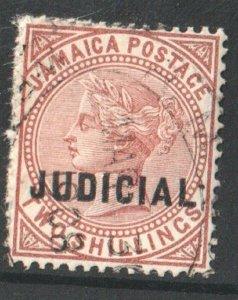 1875 JAMAICA - BAREFOOT No 12 - JUDICIAL OVERPRINT ON 2/-  - USED QUEEN VICTORIA