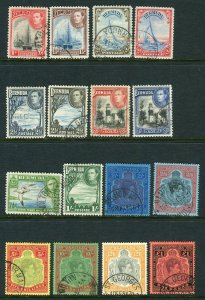 BERMUDA-1938-53  A fine used set to £1 Sg 110-121c