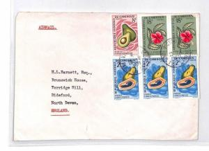 BQ194 1971 Cameroun FLORA FAUNA Devon Great Britain Airmail Cover {samwells}PTS