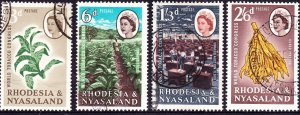RHODESIA & NYASALAND 1963 QEII World Tobacco Congress Set SG43-46 FU