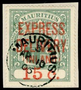 MAURITIUS SGE6, 15c grey-green, FINE USED, CDS. ON PIECE