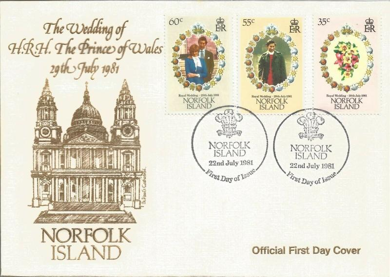 Royal Wedding HRH Prince Of Wales First Day Cover Norfolk Island 1981 Z6082