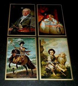 TOPICAL, ART, RWANDA, 1977, FAMOUS ARTISTS, SET/4 SHEETS, MNH, LOT #49, LQQK