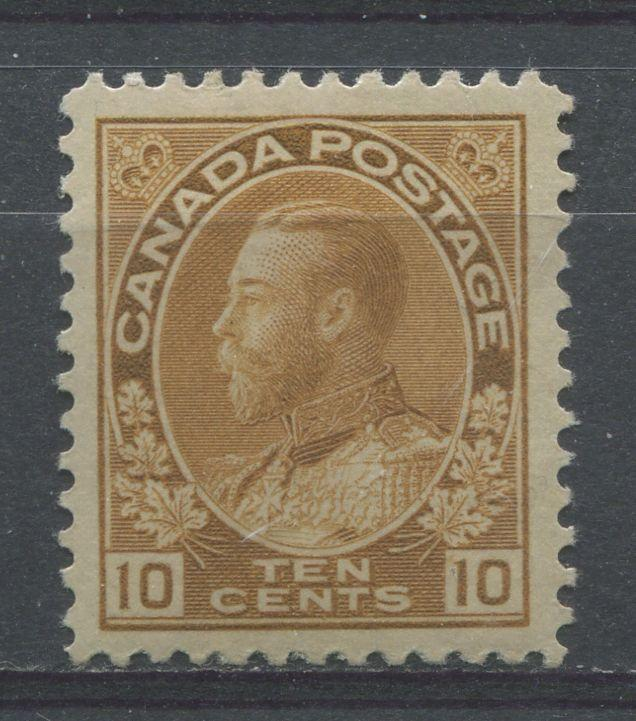 Canada #118b 10c Light Yellow Brown 1911-27 Admiral Issue No Mesh VF-75 OG
