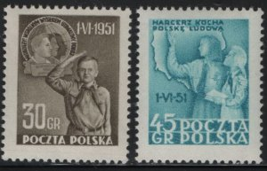 POLAND, 506-507, MNH, 1951, Issued to publicize children's day