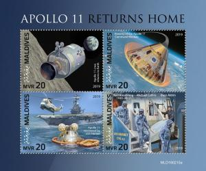 MALDIVES - 2019 - Apollo 11 Returns Home - Perf 4v Sheet - MNH