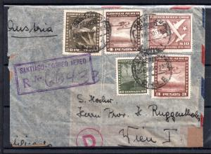 Chile 1950 Airmail censored cover to Austria (faults) WS7243