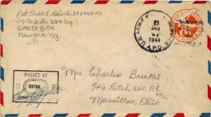 United States A.P.O.'s 6c Monoplane Air Envelope 1944 U.S. Army Postal Servic...