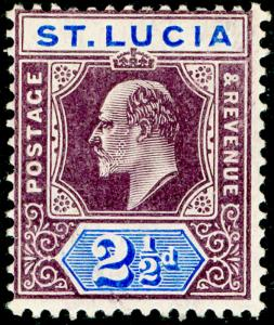 ST. LUCIA SG68a, 2½d dl purple & ultrama, LH MINT. Cat £17. WMK MULT CA (C)