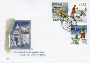 Latvia Christmas Stamps 2020 FDC Father Christmas Trees Santa Reindeer 3v SA Set