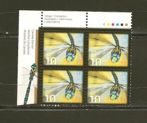 Canada Insects Dragon Fly 10 Cent Issue Inscription Corner Block of 4 MNH
