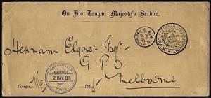 TONGA 1895 Official cover to Melbourne with rare Chief Postmaster cds.....21016