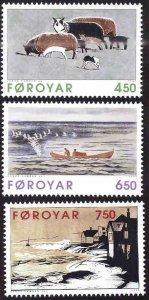 FAROE ISLANDS Scott 307-309 MNH** 1996 Janus Kamban Graphic Art set CV $5.25