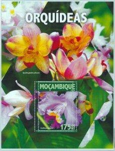 A1327 - MOZAMBIQUE, ERROR, MISPERF, Souvenir sheet: 2016,Orchids, Flowers