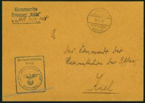 German Navy Spanish Civil War Panzerkreuzer Koeln Feldpost Cover 54435
