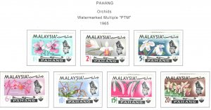Malaysia - Pahang Scott 83-89 MH* Orchid stamp set