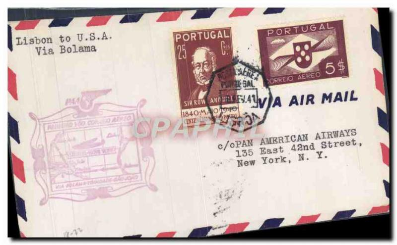 Letter Portugal Lisbon to New York Bolama 6 2 1941