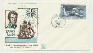 FRENCH SOUTHERN & ANTARCTIC TERR 1965 DISCOVERY ADELIE LAND FDC Sc#C7(SEE BELOW)