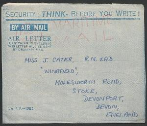 CEYLON 1945 forces airletter to UK, POST OFFICE / MARITIME MAIL in red.....49196
