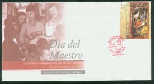 MEXICO 2575,  Teachers Day. CACHETED FIRST DAY COVER. F-VF.