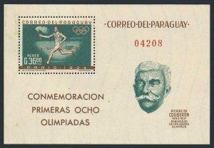 Paraguay 743a,MNH.Michel Bl.34. Olympics Paris-1924.Pierre de Coubertin.1963.