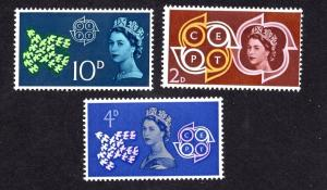 Great Britain  #382-384  MNH 1961 CEPT  complete