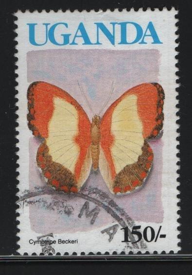 UGANDA  834, USED, 1990-92 Butterfly type
