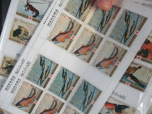 Ajman Manama  456-463 Fische je 10 Bogen äußerst dekorativ