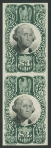 #R147P4 $3 GREEN BLACK REVENUE PLATE PROOF ON CARD BV622