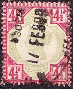 GREAT BRITAIN 1892 QV 4.5d Green & Carmine SG206 Used CV £40