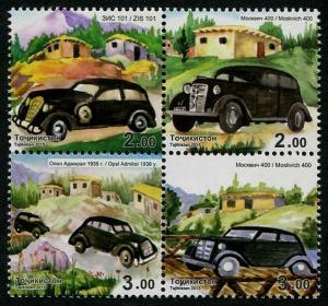HERRICKSTAMP NEW ISSUES TADZHIKISTAN Sc.# 437 Cars Block of 4 Different